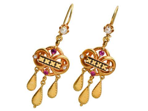 Vintage Enamel Earrings In Gold