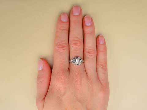 Three Diamond Platinum Engagement Ring
