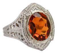 Art Deco Oval Citrine Filigree Gold Ring