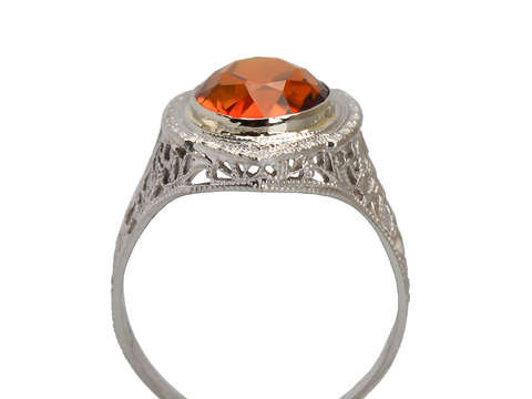Art Deco Oval Citrine Filigree Gold Ring