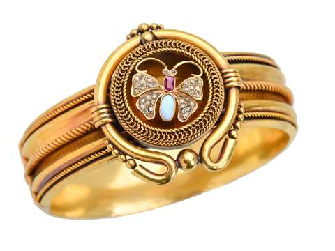 Victorian Sublime - Diamond & Gem Butterfly Bangle