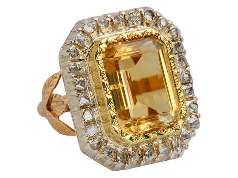 Grand French Citrine Diamond Statement Ring