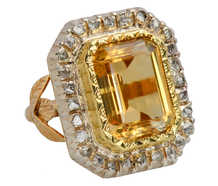 Grand French Citrine Diamond Statement Ring
