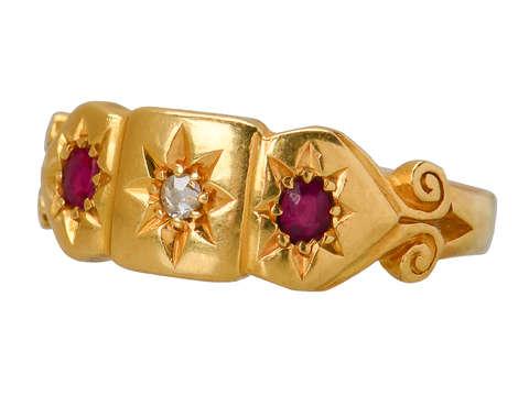 Ruby Diamond Gypsy Set 18k Ring