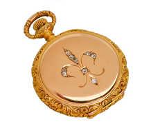 Gold Diamond Fleur De Lis Watch Pendant