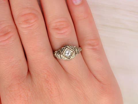 Vintage Finesse - Diamond Filigree Engagement Ring