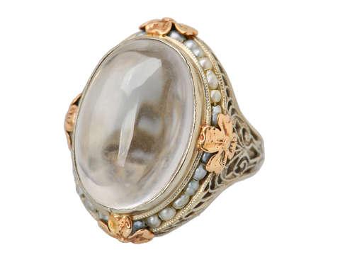 Art Deco Rock Crystal Pearl Ring