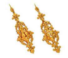 Georgian 18k Long Repoussé Italian Earrings