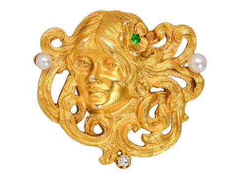 Art Nouveau 14k Gold Pendant Brooch