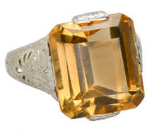 Glamour Shot - Vintage Citrine Filigree Ring