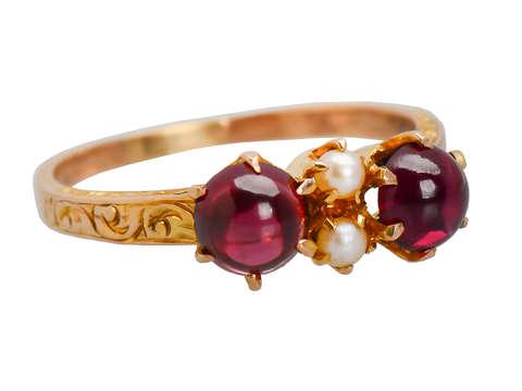 Antique Garnet Pearl Ring