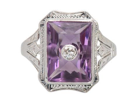 Art Deco Amethyst Diamond Ring