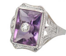 Art Deco Amethyst Diamond Ring