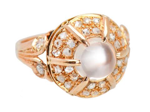 Portuguese Vintage Moonstone Diamond Ring