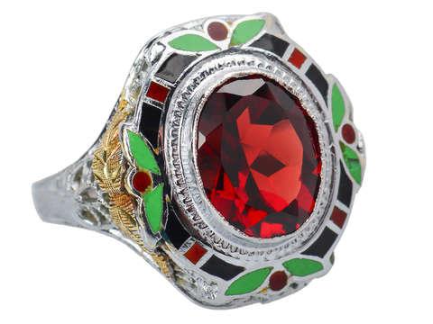 Art Deco Sensation - Garnet Enamel Ring