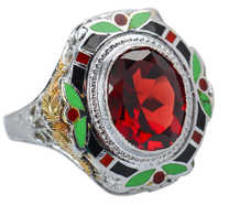 Art Deco Sensation - Garnet Enamel Ring