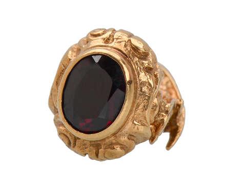 Antique Gold Falcon Garnet Seal Fob