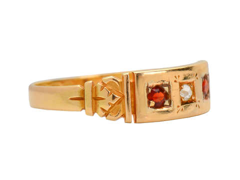 Antique 15k Garnet Diamond Ring of 1892