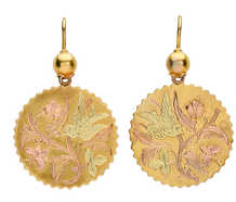 Victorian Three Color Gold Bird & Butterfly Earrings