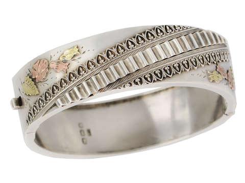 Victorian Silver & Gold Bangle Bracelet of 1886