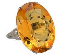 Honey Wine - Grand Citrine White Gold Ring