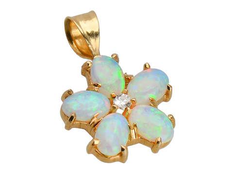 Hummingbird's Muse - Opal Flower Pendant