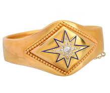 Victorian Enamel Diamond Star Bangle Bracelet