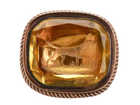 Loyalty - Citrine Rose Gold Dog Fob Seal
