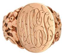 Antique Rose Gold Floral Signet Ring