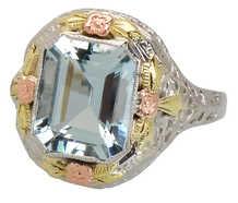 Three Color Gold Aquamarine Vintage Ring
