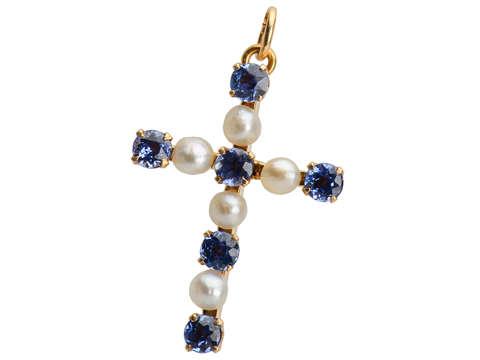 Sapphire Pearl Cross Pendant
