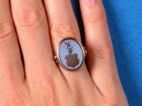 Carved Intaglio Armorial Crest Ring