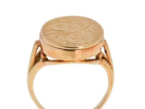 Victorian Gold Engraved Locket Ring