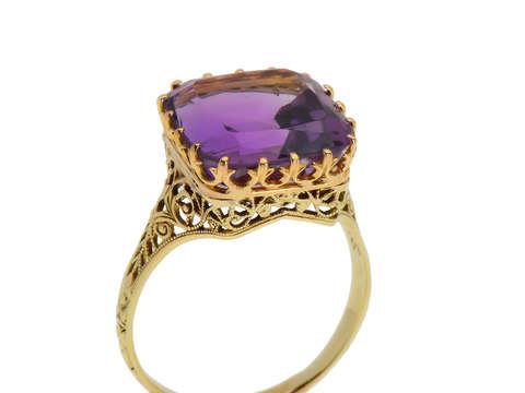 Purple Majesty - Vintage Amethyst Filigree Gold Ring