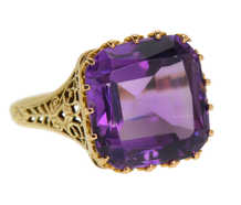 Purple Majesty - Vintage Amethyst Filigree Gold Ring