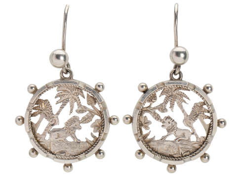 Victorian Lion & Tropical Themed Earrings of 1879