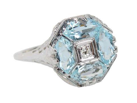 Fancy Vintage Aquamarine & Diamond Ring