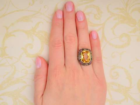 Citrine, Ruby Diamond Drama in a Retro Ring