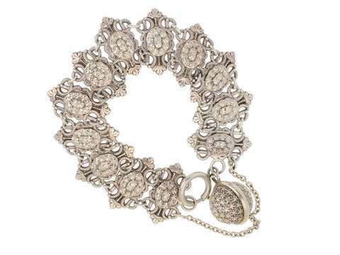 French Silver Bracelet with Star Studded Dangle