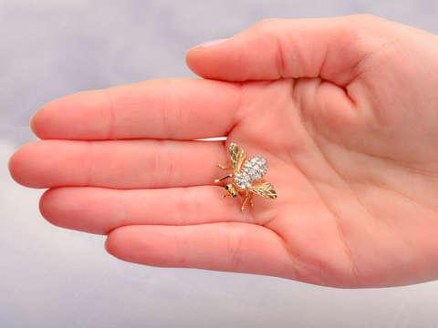 MCM Emerald Eyed Diamond Bee Brooch