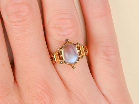 Flash Point - Victorian Blue Moonstone Ring