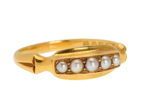Turn of the Century Five Pearl Ring of 1901