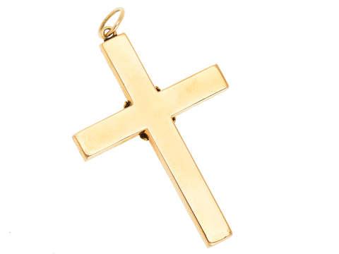 Antique Rose Cut Diamond Gold Cross