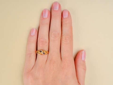 Edwardian Antique Sapphire Diamond Ring 1915