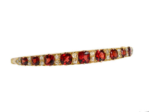 Edwardian Garnet & Rose Cut Diamond Bangle