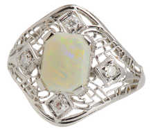 Art Deco Australian Opal Diamond Filigree Ring