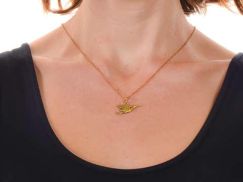 Antique French 18k Gold Stork Pendant