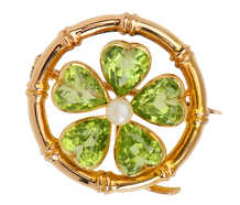 Antique Peridot Lucky Clover Brooch Pendant