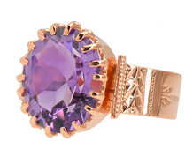 Victorian Antique Amethyst Ring in Rose Gold