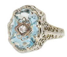 Vintage Aquamarine Fancy Cut Filigree Ring